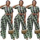 Women Fashion Short Sleeves Polka Dot Print Ruffled Casual Party Long Jumpsuit