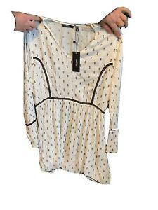 Size 20 VERO MODA White Cheesecloth Dress With Black Blocks MYER RRP 90