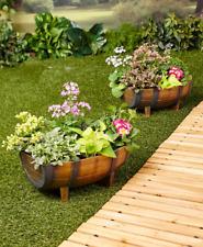 Herb Planter Garden Half Barrel Flower Pots Plastic Yard Decorations Outdoor 2 P