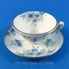 Tiny Crown Staffordshire Blue Floral Miniature Teacup and Saucer