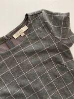 Cute Size 2 Ann Taylor LOFT Flounce Dress Knit Gray Plaid Pink Dress Winter