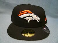 New Era 59fifty Denver Broncos Solid BRAND NEW Fitted cap hat Black NFL 7 1/2, 8