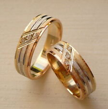 14K SOLID TRICOLOR GOLD HIS & HER WEDDING BAND RING SET 5-13 free engraving