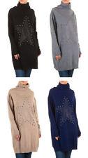 Langarm Damen-Pullover mit Stehkragen