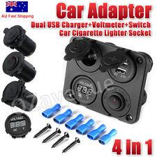 DC 12V-24V Car Cigarette Lighter Socket+Dual USB Charger+Voltmeter+Switch AU