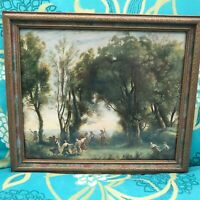 ANTIQUE FRAMED COROT A MORNING DANCE OF THE NYMPHS PRINT LITHO JEAN-BAPTISTE