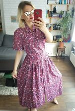 Vintage Tea Dress 1960's M 14 Landgirl Long Button Down Red Blue Leaf Print Midi
