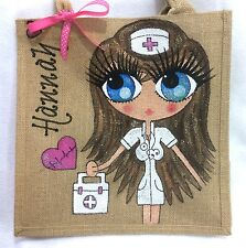 Personalised Handpainted Nurse Jute Celebrity Style Handbag Hand Bag Gift