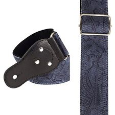 Blue Damask Guitar Strap Random Inlay Symbols 3035 Plectrum Holder Cool Blues JA