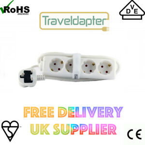 Travel Adapter EU to UK 1.5m 3 Pin Extension Lead 4 Inputs Type F Sockets White