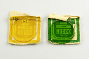 Vintage Nurex Green and Yellow 55mm Glass Filters