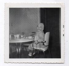 PHOTO ANCIENNE Enfant Repas Déguisement Jeu Sourire Maquillage 1956 Cuisine