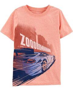 NWT Carter's KID Boy Size 5 Race Car Short Sleeve Light Orange ZOOM Glow-in-Dark