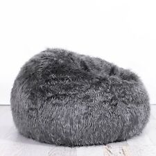 85e6b355ed Charcoal Grey FUR BEANBAG Cover Soft Bedroom Luxury Bean Bag Lounge Movie  Chair