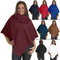 Womens Tops Ladies Knitted Italian Lagenlook Warm Winter Cape Neck Poncho Dress
