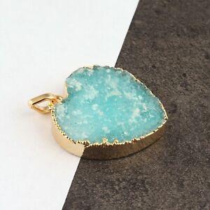 Aqua Green Sugar Druzy Yellow Gold Electroplated Heart Shape Necklace Pendant