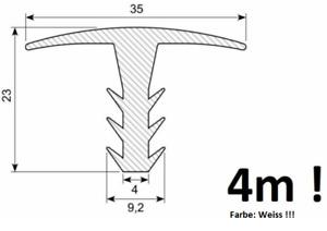 4m T-Profil (11,85€/m) Abdeckprofil Fugenabdeckung Gummiprofil f.Spalt in Weiss!