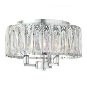 Flush Mount Light Crystal Glass Line Voltage Drum Shape Chrome (3-Light)