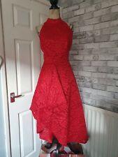 V de muy Rojo Asimétrico Alta Baja Vestido Ocasión Uk 16 carreras de boda formal