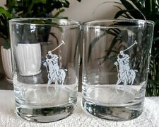 "2 Polo Ralph Lauren ""Big Pony"" Logo Tumblers Double Old Fashioned Glasses Etched"
