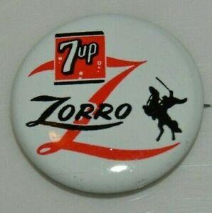 NICE Vintage 1957 ZORRO Walt Disney Productions 7UP Metal Button Pin MINT RARE