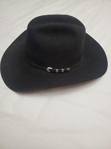 Serratelli Long Oval Black Felt Cowboy Hat Size 7 1/4 Pre-owned
