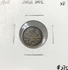Canada 1908 Silver Five Cent 5 Cents Large Date EF