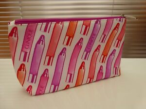Clinique Chubby / Lipstick Design Pink Make Up Bag / Cosmetic Bag / Purse. NEW.