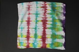 "Tie Dye Bandana 21"" x 21"" Red Radio Drip Multi-Color 100% cotton"