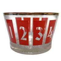 Vintage Mid Century Glass Ice Bucket Dish Numbers 1-8 MCM Red Letter Gold Trim