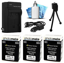 3x PhotoMate EN-EL19 EL19 1600mAh Battery + Rapid Car & Home Charger for Nikon