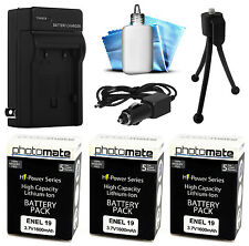 3x PhotoMate EN-EL19 EL19 1600mAh Battery + Rapid Car & Home Charger for Nikon