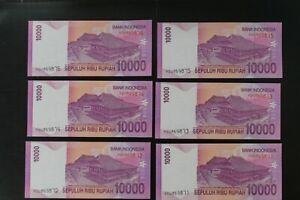 Indonesia 2009 Rp10000 note in ch-UNC/gem-UNC YDU prefix (6 notes) (v137)