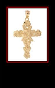 14K Yellow Gold Diamond Cut Cross Pendant