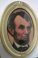 """Antique Oval Picture Frame 25x19"""" W/Convex Bubble Glass & Abe Lincoln Print"""