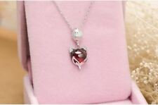 "2CT Fox Amethyst solid S925 Sterling Necklace 18"" love heart gift mom- NL206"