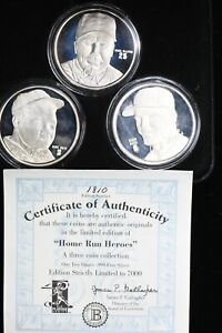 Home Run Heroes 3 oz. total Silver  Babe Ruth, Mark McGwire, Roger Maris 99c NR