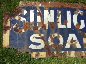 A British Original Sunlight Soap Heavy Enamel Sign. E.I. Co. Saltley, Birmingham