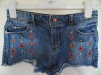 Girls Blue embroidered Denim shorts size 12-13 years height 158cms