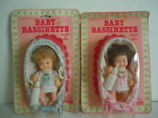 RARE SET 1981 EUGENE DRINKS & WETS DOLLS : BABY BASSINETTE DOLLS IN CRIBS,CRADLE
