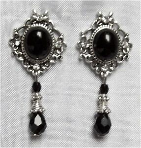 ^v^Ohrschmuck*Black Drop*Gothic*earrings*Burlesque*Strass*schwarz*Ohrstecker^v^