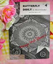 Vintage Crochet Pattern Pretty Butterfly Doily To Grace Your Home!   FREE UK P&P