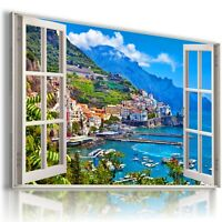 "3D GREECE Window View Canvas Wall Art Picture Large SIZE 30X20"" W203"