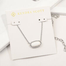 NEW Kendra Scott Elisa Silver Pendant Necklace In White Pearl