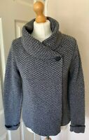Mary Itallian Wool Blend Cardigan Wrap Grey Zigzag Uk 12