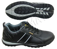 MENS LADIES BLACK LIGHTWEIGHT COMPOSITE TOE CAP SAFETY WORK SHOES TRAINERS BOOT