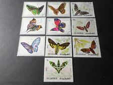 FUJEIRA, LOT 10 TIMBRES oblitéré, PAPILLONS, BUTTERFLY, VF STAMPS