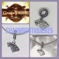 🇬🇧💜💜925 STERLING SILVER GOT GAME OF THRONES DIREWOLF HOUSE STARK CHARM ONLY