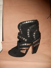 Azzedine Alaia Black Suede Studded Cutout Open Toe Ankle Booties Boots Shoes 36