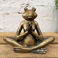 Gold Yoga Frog Toad Home Garden Decorative Ornament Sculpture Figurine Statue B